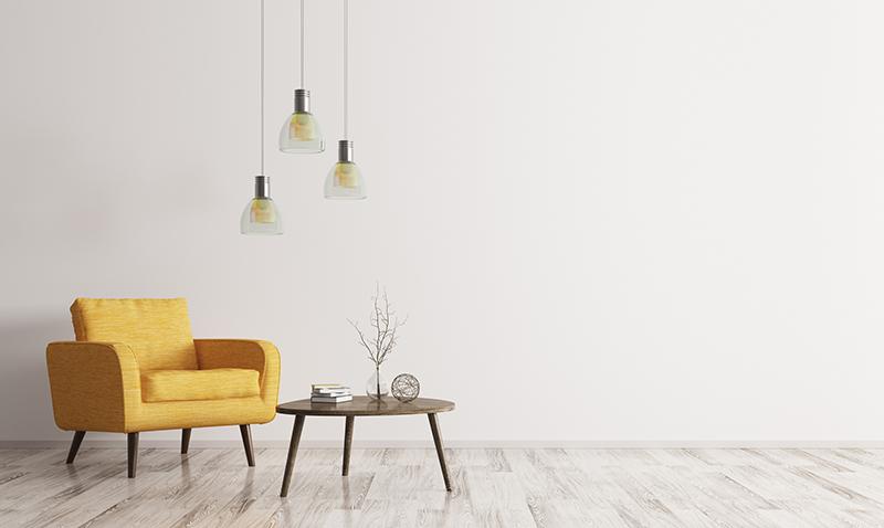 シンプルな部屋にあるソファとテーブル